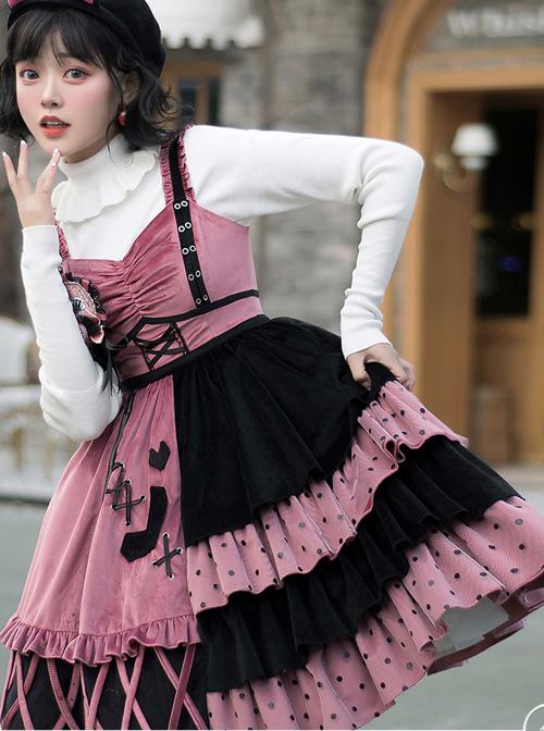 Exploding Raspberry Series JSK Autumn Winter Retro Color Matching Sweet Lolita Sling Dress And Top Set