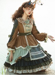 Xiu Man In April Series Retro Pastoral Style Classic Lolita Long Sleeve Dress