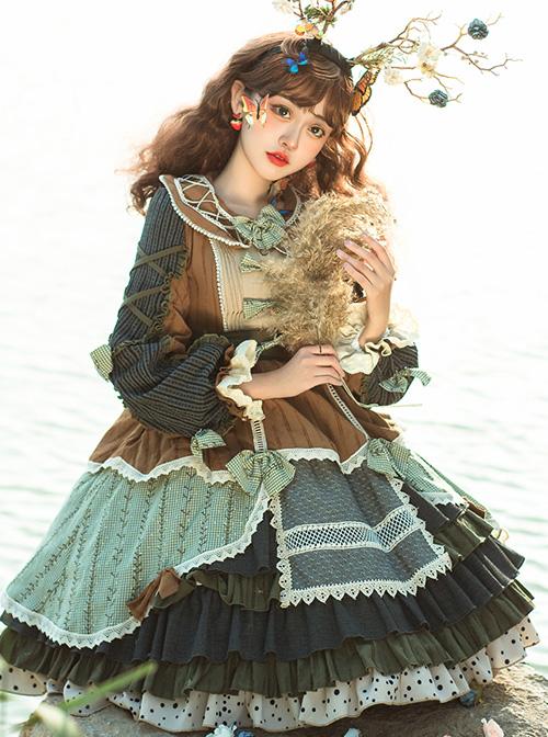 Xiu Man In April Series Retro Pastoral Style Classic Lolita Long Sleeve Dress