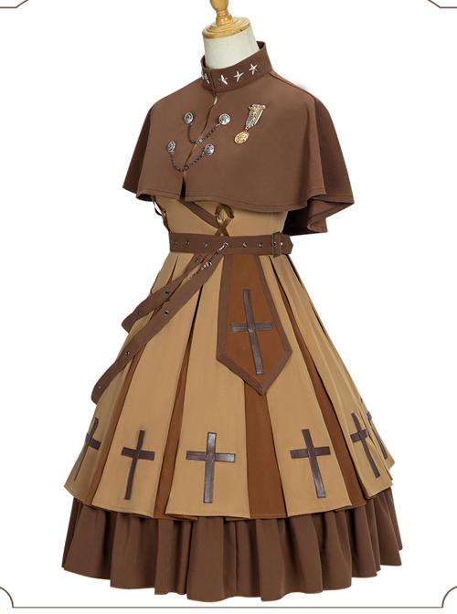 Dawn Series JSK Retro Military Style Punk Lolita Sling Dress And Cape