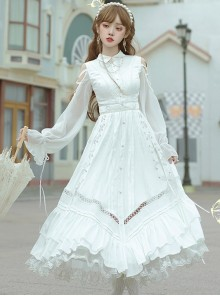 Dawn Sacrifice Series OP Pure White Elegant Long Style Classic Lolita Long Sleeve Dress