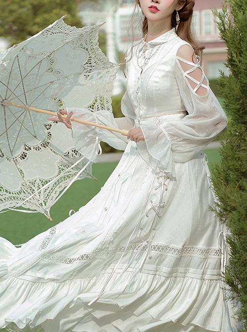 Dawn Sacrifice Series OP Pure White Elegant Long Style Classic Lolita Long Sleeve Dress