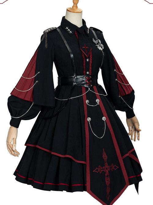 Sanctioner Series OP Dark Retro Military Style Gothic Lolita Long Sleeve Dress