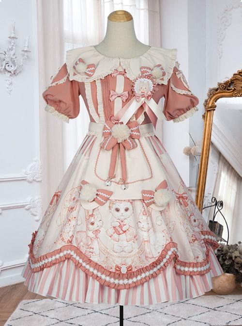 Crown Kitten Series Doll Collar Pink Sweet Lolita Puff Short Sleeve Dress