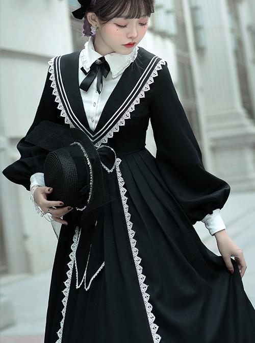 Pride And Prejudice Series OP Elegant Preppy Style Classic Lolita Long Sleeve Dress