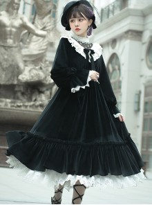 Tenderness Champs Elysees Series OP Elegant Velvet Classic Lolita Long Sleeve Dress