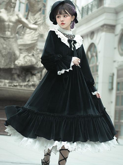 Tenderness Champs Elysees Series OP Elegant Velvet Classic Lolita Long Sleeve Dress