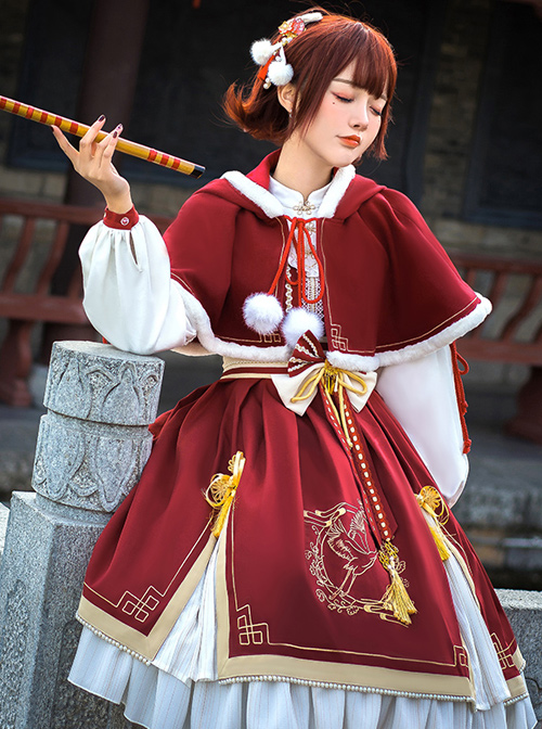 Golden Crane Returns Series OP Chinese Style Classic Lolita Long Sleeve Dress And Cape