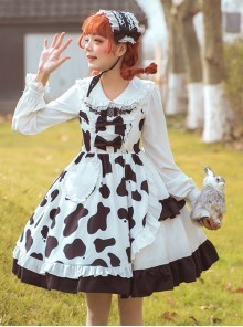 Creamy Cookies Series JSK Milk Cow Printing Sweet Lolita Sling Dress