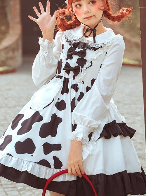 Creamy Cookies Series JSK Milk Cow Printing Sweet Lolita Sling Dress