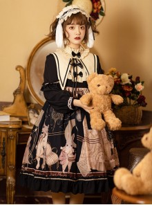 Forest Theater Series OP High Waist Sweet Lolita Long Sleeve Dress