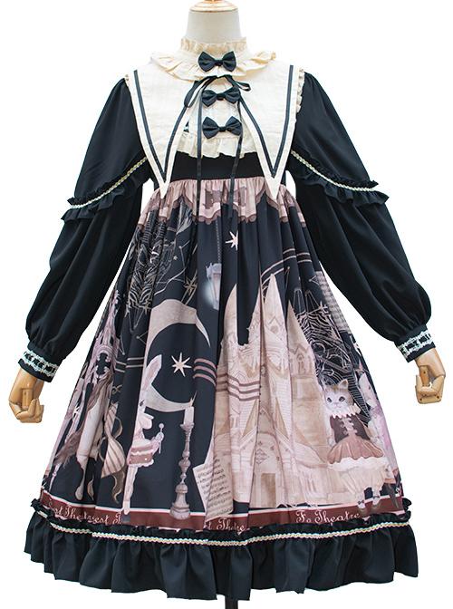 Forest Theater Series OP High Waist Sweet Lolita Long Sleeve Dress