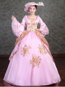 Golden Embroidery Pink Retro Palace Style Lolita Prom Dress