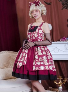 Roast Coffee Series JSK Printing Sweet Lolita Sling Dress