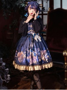 Immortal Bottle Series JSK Retro Printing Classic Lolita Sling Dress