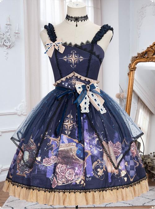 Immortal Bottle Series JSK Retro Printing Classic Lolita Sling Dress