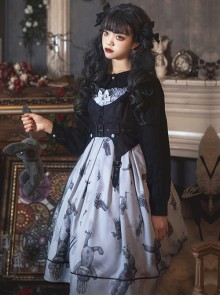 Gloomy Doll Series JSK Gothic Lolita Light Blue Sling Dress