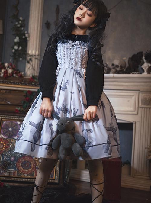 Gloomy Doll Series JSK Gothic Lolita Light Blue Sling Dress
