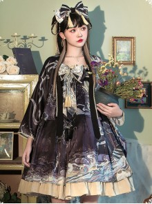 Romantic Dream In Garden Series Retro Chinese Style Printing Classic Lolita Dress