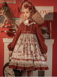 Sweet Tea Series OP Elegant Small High Waist Reflective Satin Sweet Lolita Long Sleeve Dress
