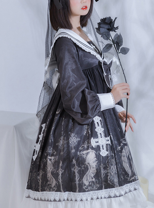 Ode To The Cross Series OP Gothic Lolita Long Sleeve Dress