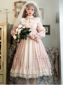 Diana Series Pink OP Elegant Palace Style Classic Lolita Long Sleeve Long Dress