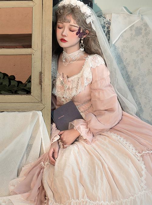 Diana Series Pink OP Elegant Palace Style Classic Lolita Long Sleeve Long Dress