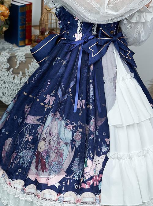 Fox Hydrangea Series Printing JSK Sweet Lolita Sling Dress