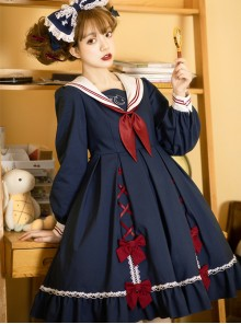 Star Falling Series OP Navy Blue Sweet Lolita Navy Collar Long Sleeve Dress