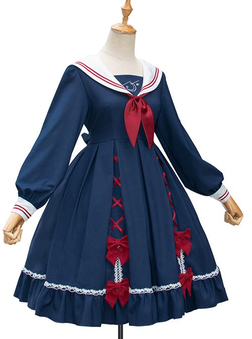 Star Falling Series OP Navy Blue Sweet Lolita Navy Collar Long Sleeve Dress