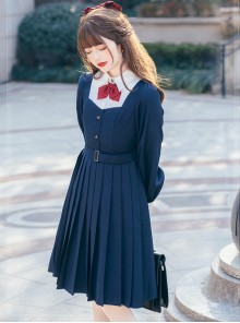 Top Student Series Pleated Dress School Lolita Long Sleeve Dress