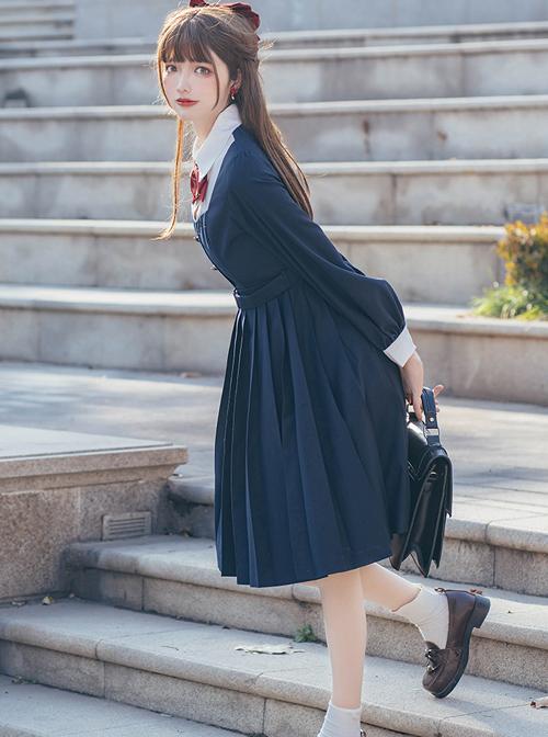 Top Student Series Pleated Dress School Lolita Long Sleeve Dress