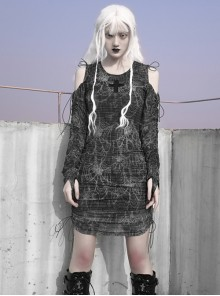 Gothic Cross Darkness Cobweb Printing Punk Drawstring Dress