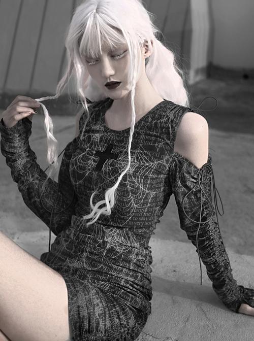 Gothic Cross Darkness Cobweb Printing Punk Drawstring Dress
