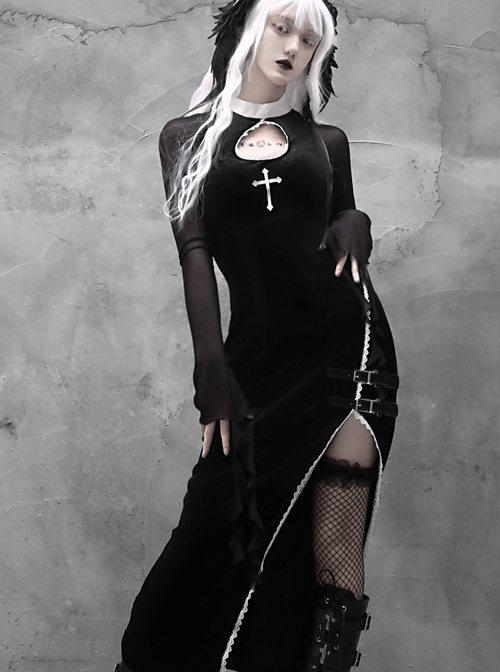 Gothic Embroidery Sexy Long Style Velvet Slim Dress