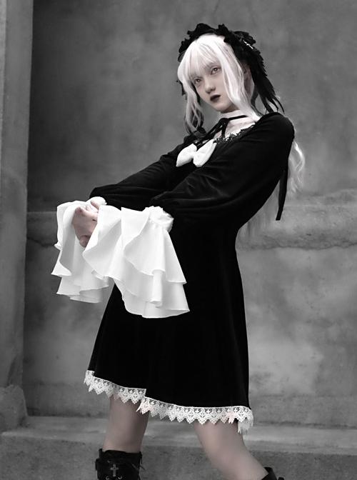White Lace Black Velour Gothic Long Sleeve Lantern Sleeve Bowknot Dress