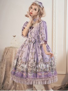 Swan Wedding Series OP Purple Classic Lolita Half Sleeve Dress
