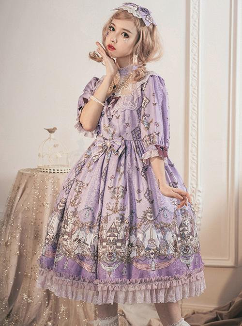 Swan Wedding Series OP Purple Classic Lolita Half Sleeve Dress