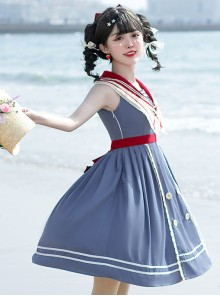 Blue Poetry Series Sailor Collar School Lolita Blue Sleeveless Dress