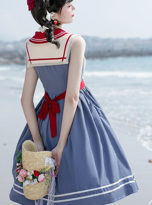 Blue Poetry Series Sailor Collar School Lolita Blue Sleeveless Dress