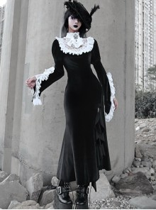 White Lace Black Velour Medieval Gothic Long Style Fishtail Dress