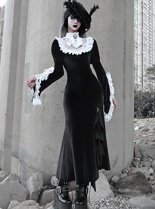 White Lace Black Velour Medieval Gothic Long Style Fishtail Dress
