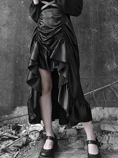 Gothic Black Chiffon Shirt And PU Satin Drawstring Sling Dress Two-piece
