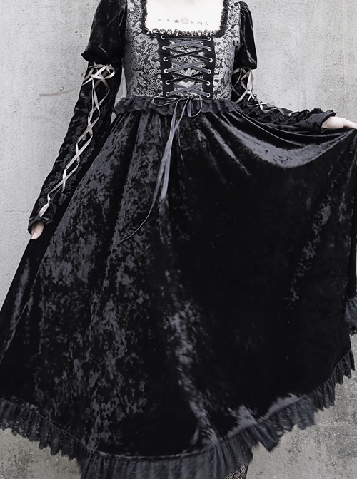 Gothic Jacquard Black Velour Long Sleeve Puff Sleeve Dress