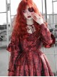 Gothic Bloody Red Rose Printing Long Sleeve Dress