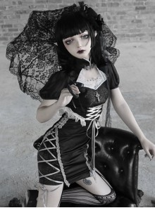 Darkness Feast Series Lace Straps Black Sexy Improved Cheongsam Gothic Dress