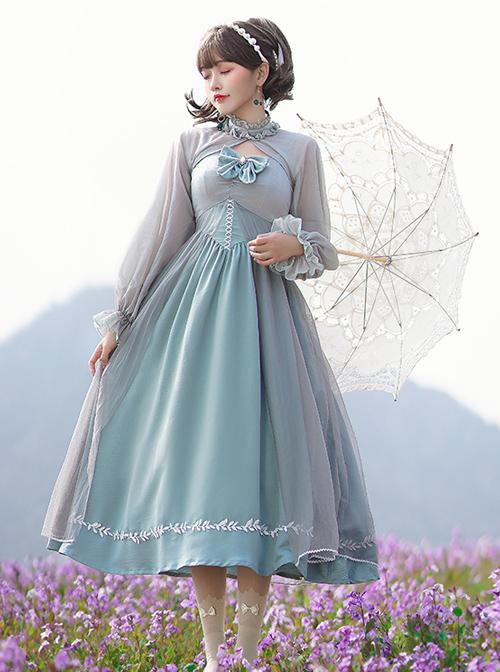 Gray Blue Chiffon Elegant JSK Classic Lolita High Waist Long Style Dress