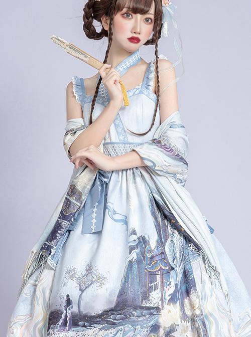 Romantic Dream In Garden Series JSK II Classic Lolita Retro Chinese Style Printing Dress