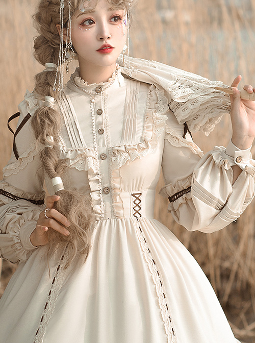 Shepherdess Series Elegant Pastoral Style Classic Lolita Detachable Hem Long Sleeve Dress