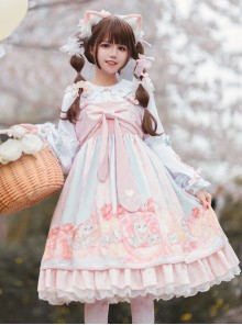 Dogs Donuts Series JSK Printing Sweet Lolita Sling Dress And Doll Collar Shirt Set